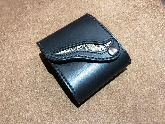 少しワイルドな三つ折れ財布 蛇革インレイの画像1枚目