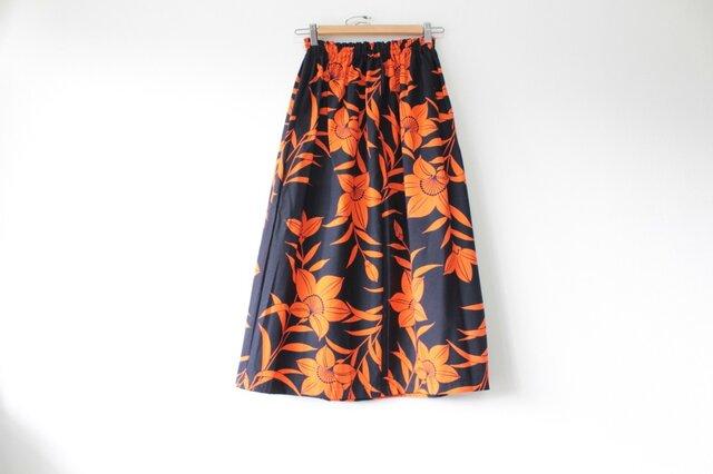 ☆浴衣ロングスカート☆ユリ柄♪/31ys19の画像1枚目