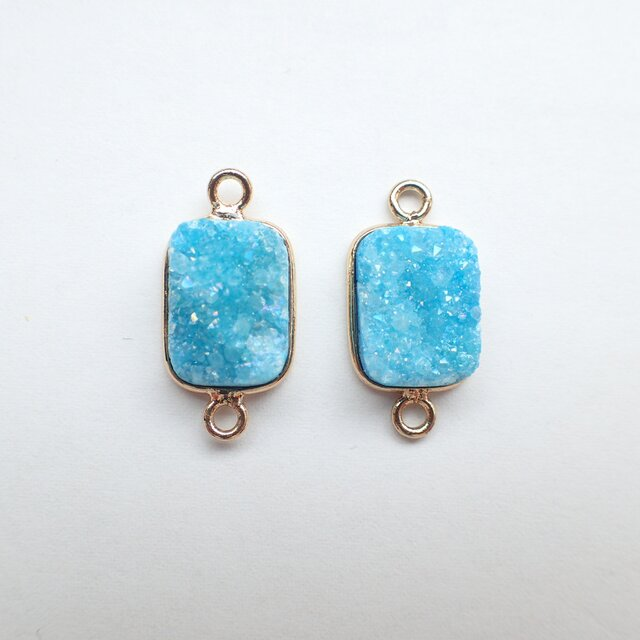 2個セット 天然石ドゥルージーストーン パーツ スクエア  ブルーの画像1枚目