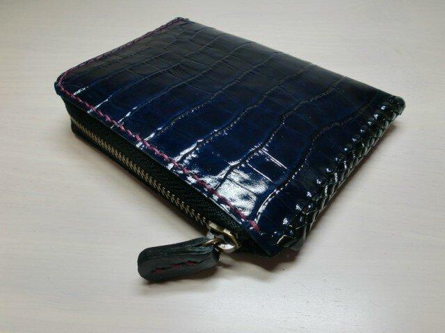 牛革・ネイビー・型押しクロコ・コーティングレザー・L字ファスナーコインケース・km0291の画像1枚目
