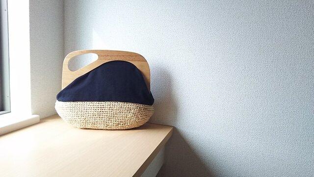 マダガスカル産ラフィアとヴィンテージ帆布の木工口金デザインバッグ(black)の画像1枚目