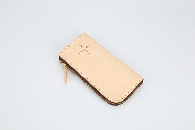 【切線派】【選べるステッチ】牛革手作りL字ファスナー長財布の画像1枚目
