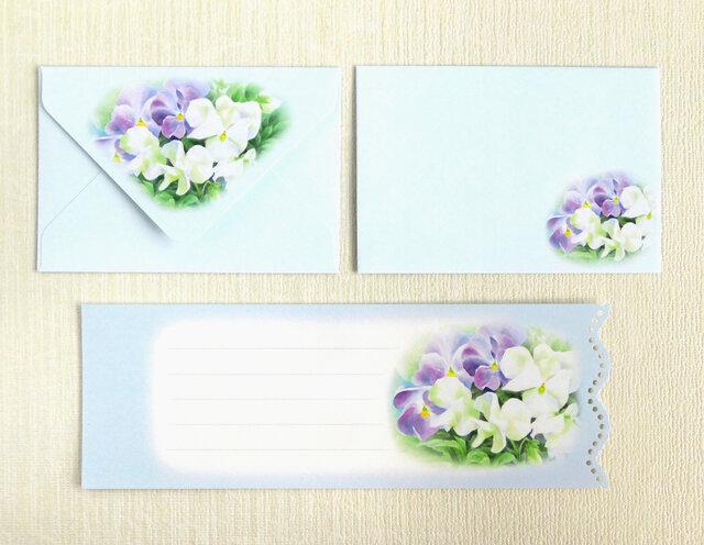 パンジーのミニ封筒&メッセージカード(外模様)の画像1枚目