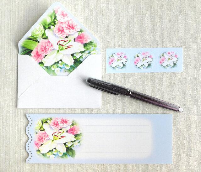 バラとカサブランカのミニ封筒&メッセージカード(内模様)の画像1枚目