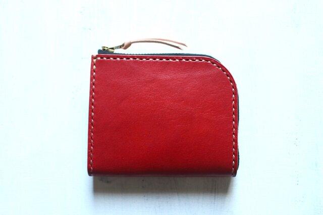 【受注生産品】L字ファスナー小さい財布 ~栃木アニリン赤×栃木ヌメ~の画像1枚目