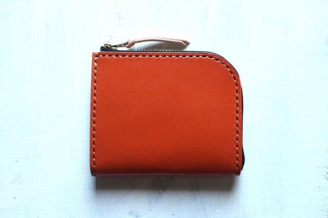 【受注生産品】L字ファスナー小さい財布 ~栃木アニリンオレンジ×栃木ヌメ~の画像1枚目