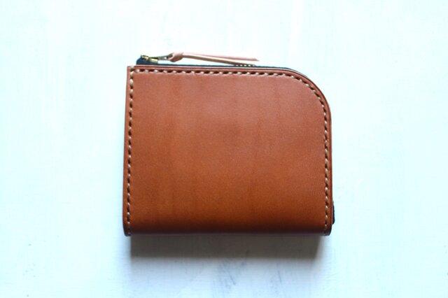【受注生産品】L字ファスナー小さい財布 ~栃木アニリンキャメル×栃木ヌメ~の画像1枚目
