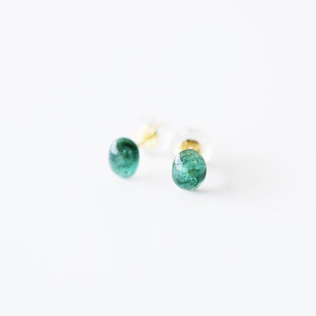 天然石ピアス/エメラルドの画像1枚目