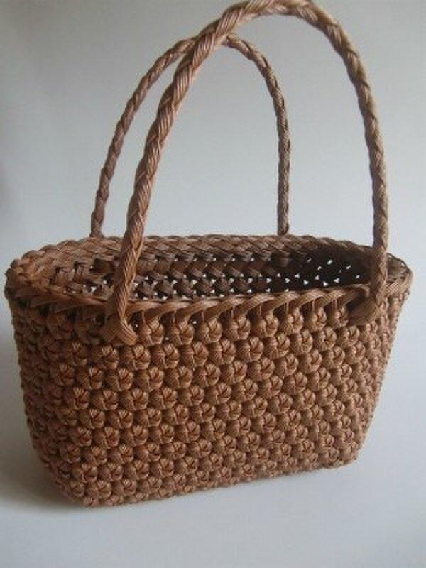 Y様予約品 「花結び編みのてさげかご」の画像1枚目