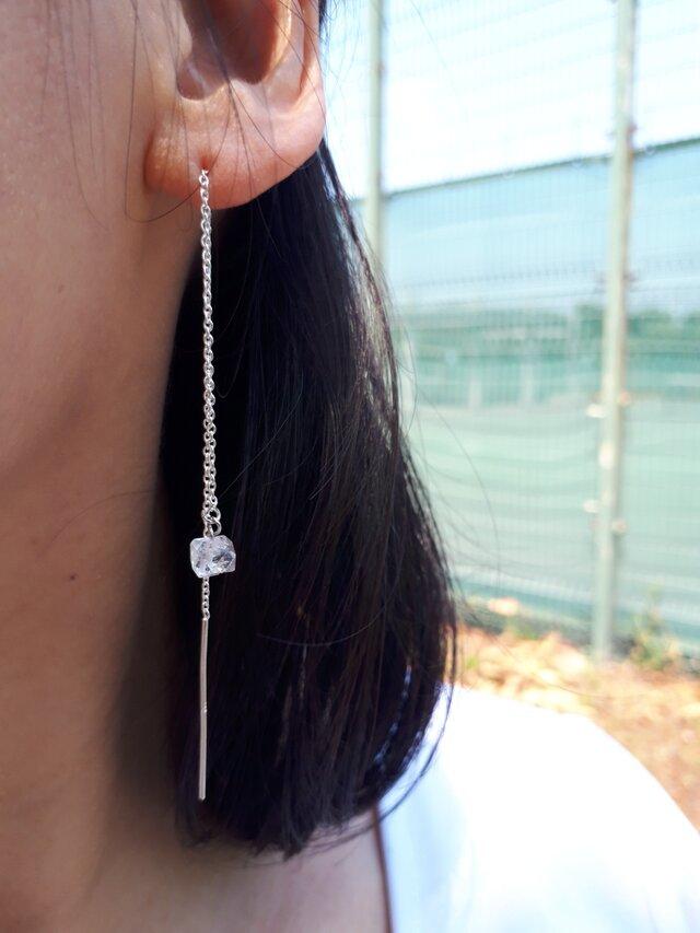 ハーキマーダイヤモンド スターリングシルバー925 ロングチェーンピアスの画像1枚目