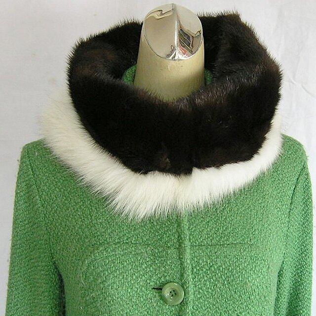 ¶ new antique fur ¶ ダークブラウンミンク/ブルーフォックストリミングスヌード「tales」の画像1枚目