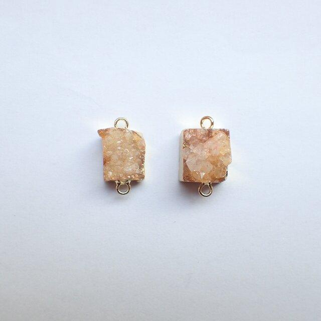2個セット天然石<Small>ドゥルージーストーンパーツ ハニーイエローの画像1枚目