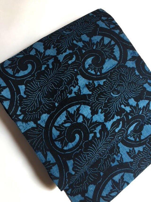 古布藍返し型染めの名古屋帯 再出品 【送料無料】の画像1枚目
