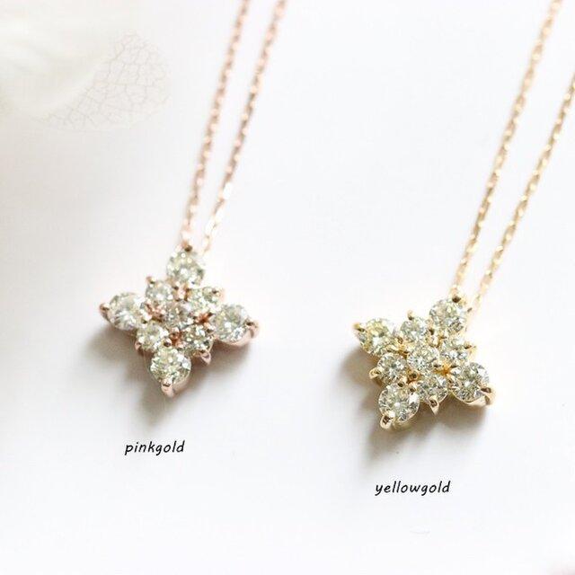 数量限定 K18金 ダイヤモンド 菱形のネックレス 4月誕生石 2色の画像1枚目