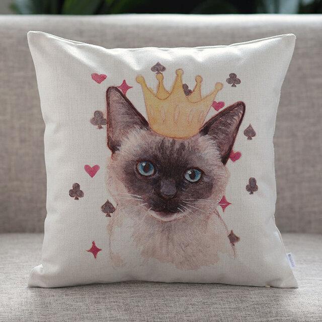 クッションカバー シャム クラウン 猫 北欧デザイン jubileecushionai009の画像1枚目
