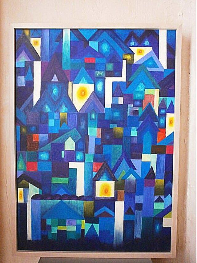 青い街 オイルパステル ガッシュ 原画の画像1枚目