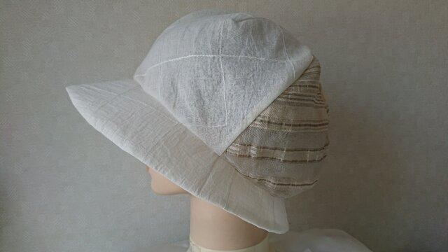 魅せる帽子☆飾りボタンが可愛い♪軽くて涼しい!リバーシブルクロッシュの画像1枚目