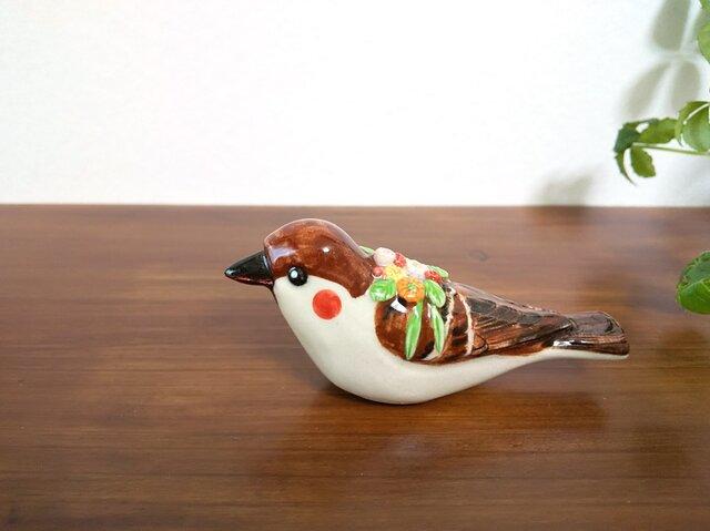花小鳥/大 スズメ(陶器)の画像1枚目
