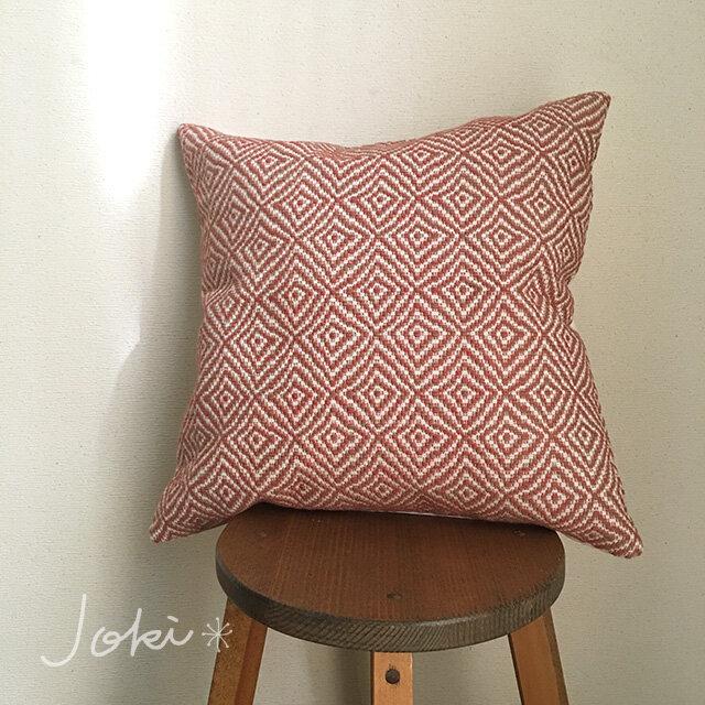 [再販]       手織りクッションカバー菱柄 桜色の画像1枚目