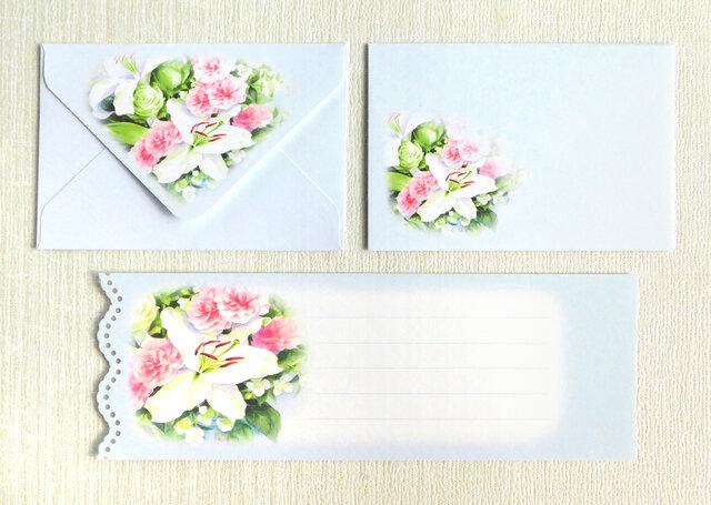 バラとカサブランカのミニ封筒&メッセージカード(外模様)の画像1枚目