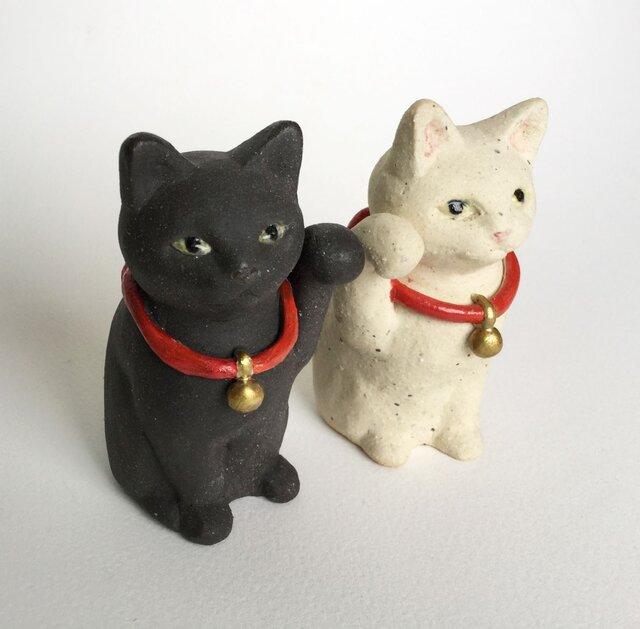 かわいいまねき猫(白と黒)の画像1枚目