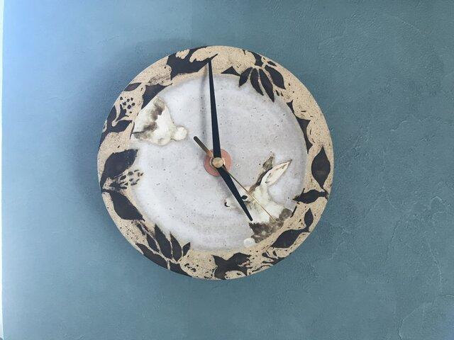 うさぎの陶時計の画像1枚目