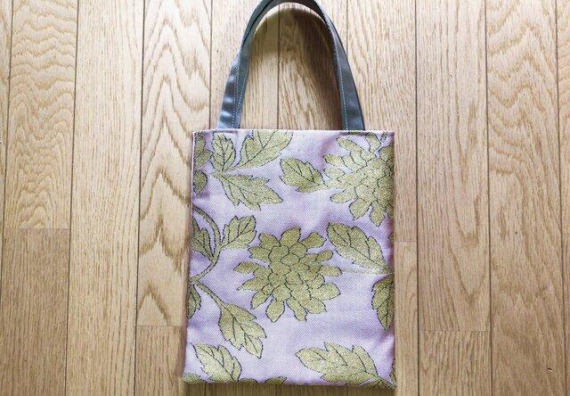 本袋帯 ミニトートバッグ ピンク×ゴールドの織花柄の画像1枚目
