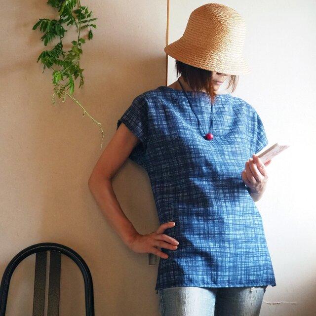 K's -藍色格子のかぶりTブラウス ボートネック【受注制作】-浴衣(古布)からの画像1枚目