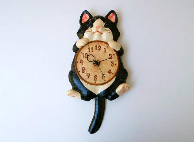 陶器の掛時計 福々招き猫 ハチ尾振の画像1枚目