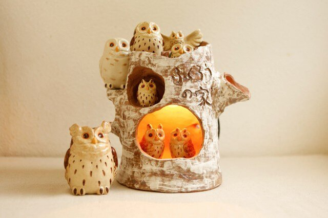 フクロウの家ランプ 日本のフクロウセット の画像1枚目