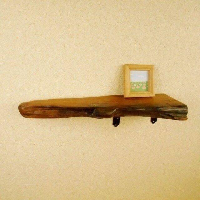 【温泉流木】細長三角形のコーナーウォールラック 壁掛け棚 流木インテリアの画像1枚目