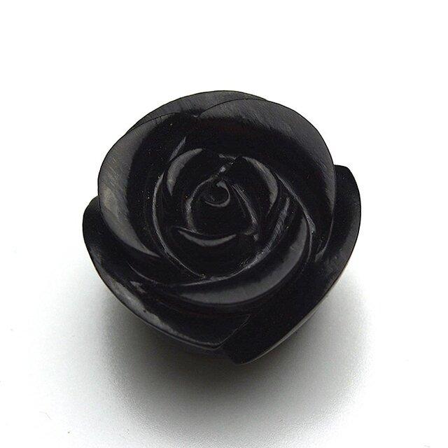 ジェット 黒玉 1粒 バラ彫 薔薇 ペンダントトップ ルース モーニングジュエリーの画像1枚目