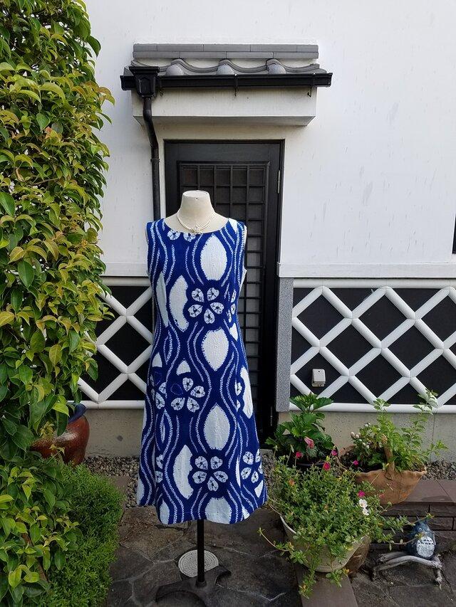 着物リメイク 手作り 有松絞り 浴衣 ノースリーブ ワンピース お祭り 盆踊りなどにの画像1枚目