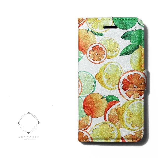 【両面デザイン】 iphoneケース 手帳型 レザーケース カバー レモン×オレンジ×ライム フルーツ柄の画像1枚目