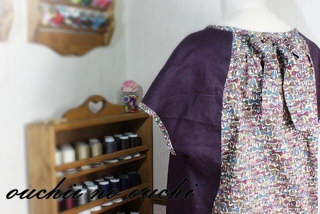 ③【受注生産】リバティ後ろリボン&リネン100 フレンチ袖プルオーバーの画像1枚目
