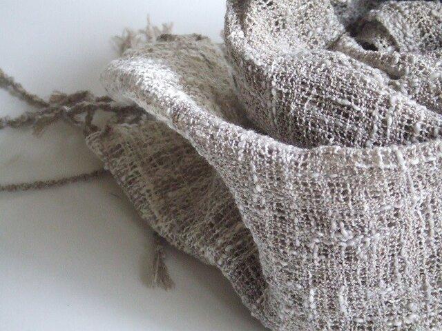 「Hさまご依頼品」手織りコットンマフラー・・茶のグレーの画像1枚目