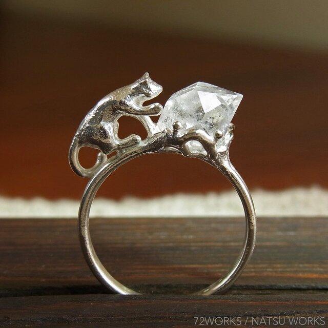 ハーキマーと猫  Herkimer & Cat Ringの画像1枚目