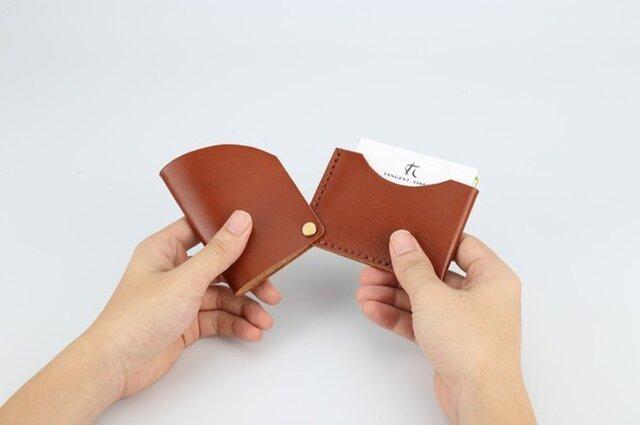 【切線派】回轉本革名刺入れ カードケース 名刺ケース 総手縫い 焦げ茶の画像1枚目
