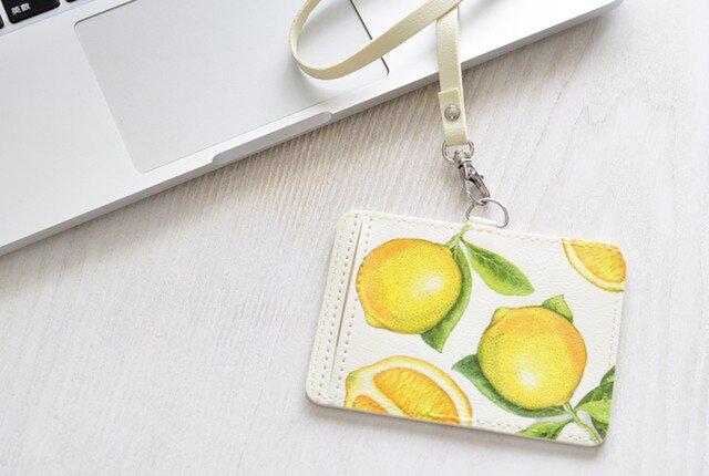 受注制作☆ネームホルダー パスケース refresh lemonの画像1枚目