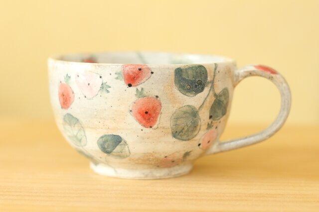 ※C様専用画面 粉引き赤とピンクのイチゴのカップ。の画像1枚目