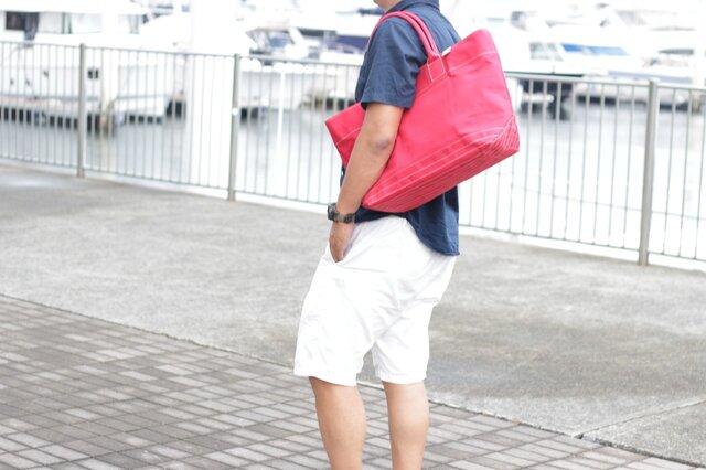 レザーバッグ職人が作った帆布の大きなトートバッグ レッド【送料無料】の画像1枚目