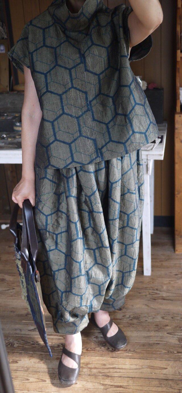 正絹紬着物からセットアップの画像1枚目