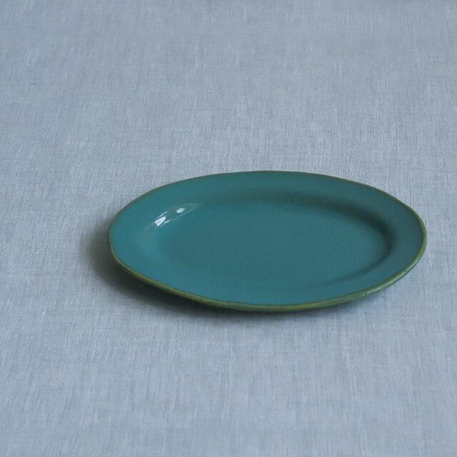 オーバル皿 S 糠青磁釉の画像1枚目