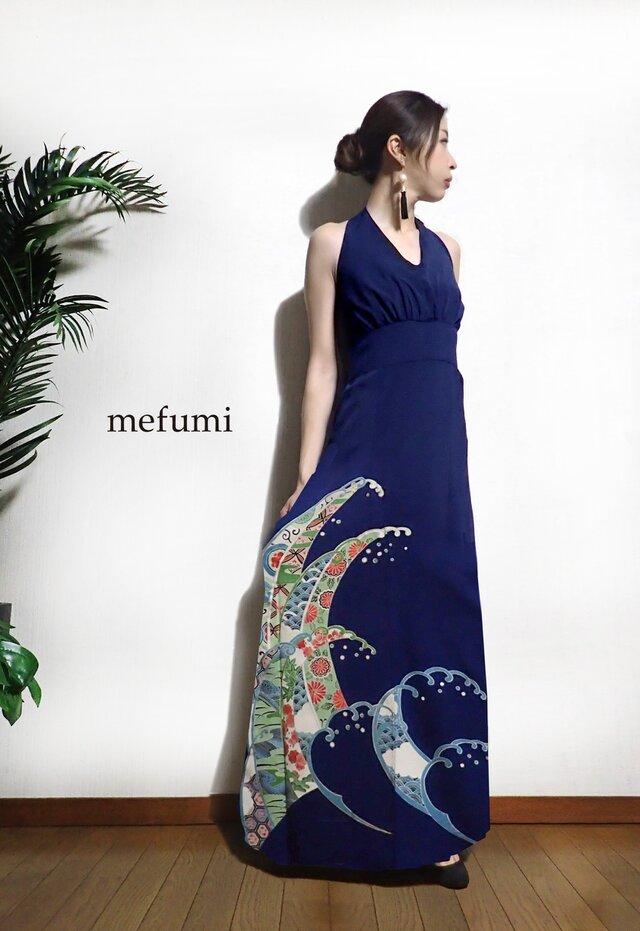 受注制作 ✳︎1点物 ✳︎ アンティーク  正絹 波 着物リメイク   フォーマル ロングワンピース  M/Lサイズの画像1枚目