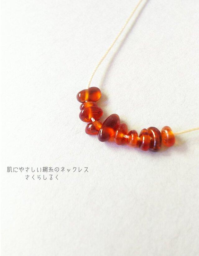 20 [14kgf] ガーネット 1月の誕生石 肌にやさしい絹糸のネックレスの画像1枚目