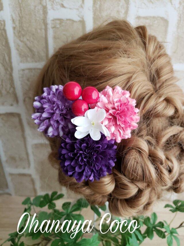 夏涼②ポンマムとベリーの髪飾り5点Set No232 浴衣の画像1枚目