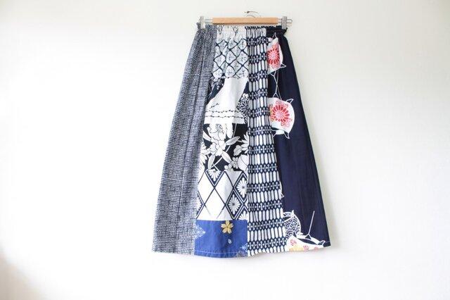 ☆浴衣ロングスカート☆ パッチワーク13枚♪/31ys15の画像1枚目
