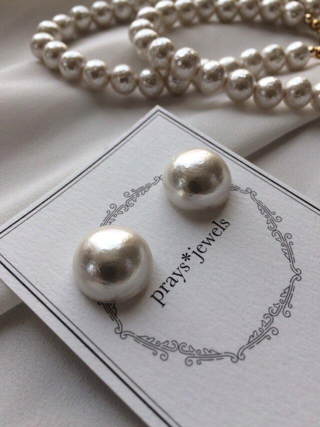 cotton pearl magnet pierced・earringsノンホールピアスの画像1枚目
