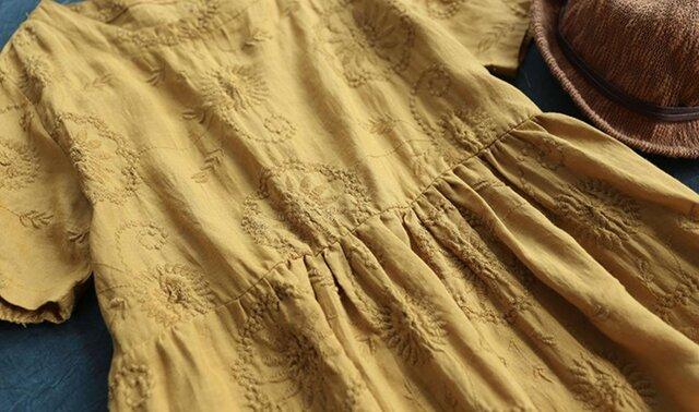 【受注製作】手作100%麻・刺繍・ロング・天然麻生地 ワンピース TR3376 の画像1枚目