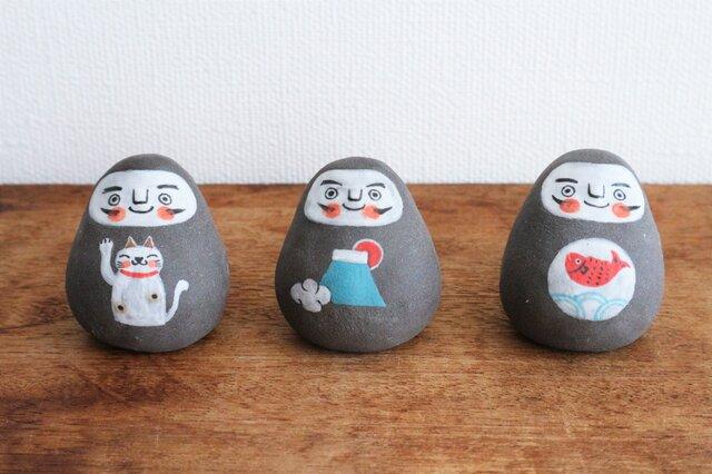 黒絵だるま ( 招き猫・富士山・鯛 )の画像1枚目